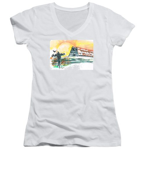 Scarecrow Welcomes The Morning Women's V-Neck T-Shirt (Junior Cut) by Seth Weaver