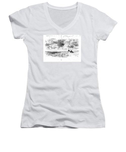 Women's V-Neck T-Shirt (Junior Cut) featuring the drawing Bleak Chapel by Paul Davenport