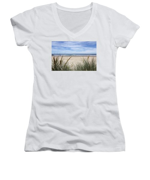 Scenic Oceanview Women's V-Neck T-Shirt (Junior Cut) by Athena Mckinzie