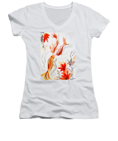 Women's V-Neck T-Shirt (Junior Cut) featuring the painting School by Beverley Harper Tinsley