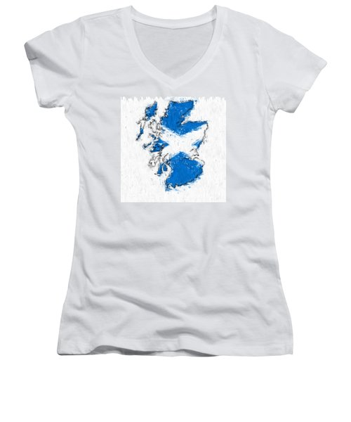 Scotland Painted Flag Map Women's V-Neck T-Shirt (Junior Cut) by Antony McAulay