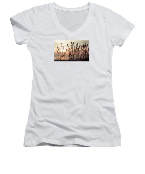 Women's V-Neck T-Shirt (Junior Cut) featuring the photograph Spectacular Sea Oats At Sunrise by Belinda Lee