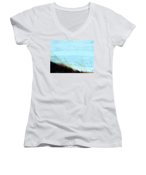 Women's V-Neck T-Shirt (Junior Cut) featuring the drawing Sea Oats In The Wind Drawing by D Hackett