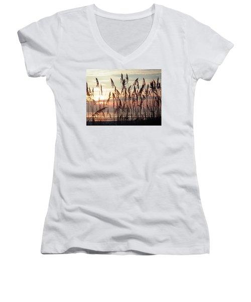 Fabulous Blue Sea Oats Sunrise Women's V-Neck T-Shirt (Junior Cut) by Belinda Lee