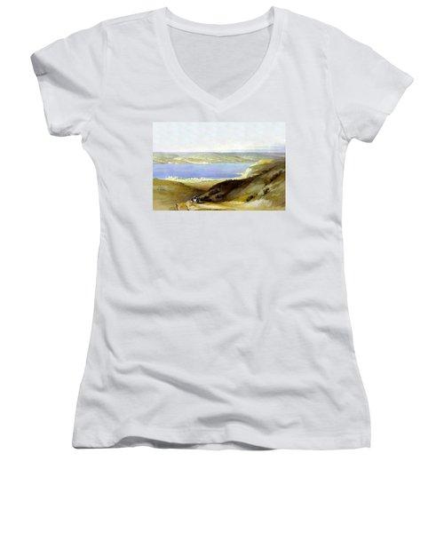 Sea Of Galilee Women's V-Neck T-Shirt (Junior Cut) by Munir Alawi