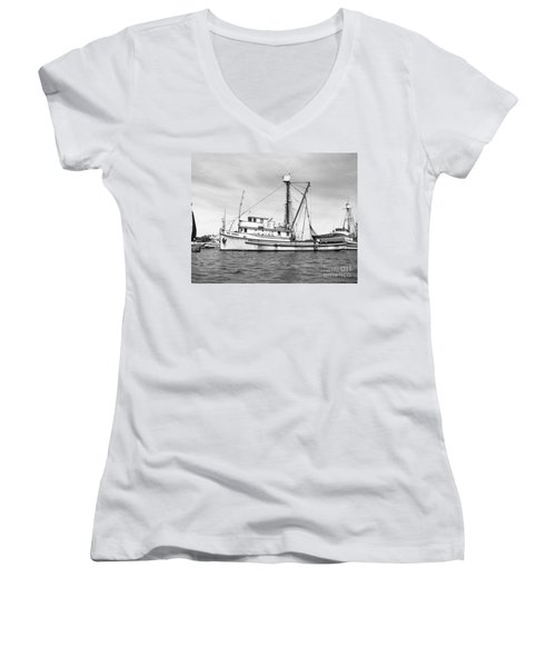 Purse Seiner Sea Queen Monterey Harbor California Fishing Boat Purse Seiner Women's V-Neck T-Shirt (Junior Cut) by California Views Mr Pat Hathaway Archives