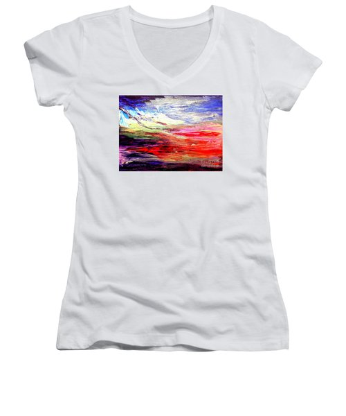 Sea Sky I Women's V-Neck T-Shirt (Junior Cut) by Karen  Ferrand Carroll