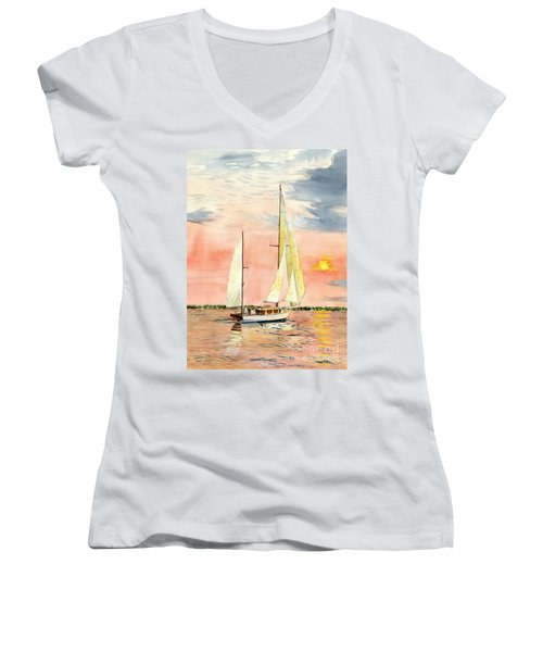 Sea Star Women's V-Neck T-Shirt (Junior Cut) by Melly Terpening