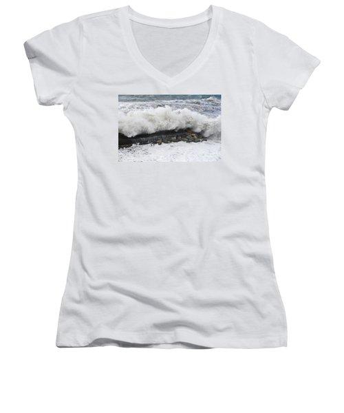 Sea Storm  Women's V-Neck T-Shirt (Junior Cut) by Antonio Scarpi