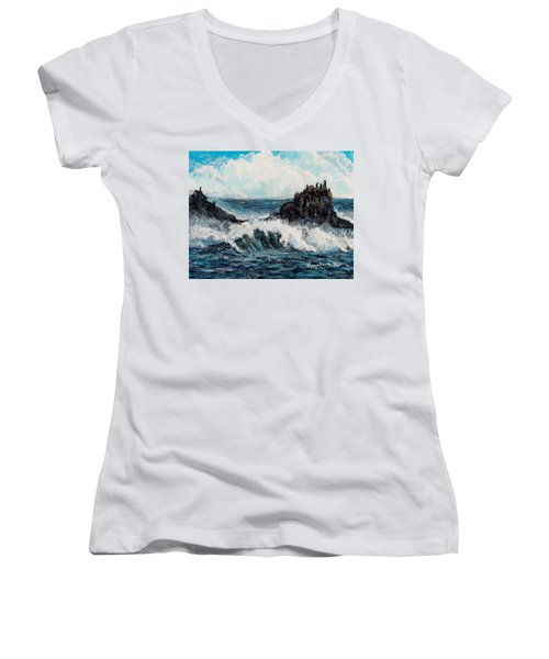 Women's V-Neck T-Shirt (Junior Cut) featuring the painting Sea Whisper by Shana Rowe Jackson
