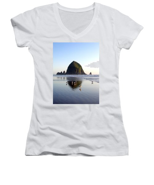 Seagulls And A Surfer Women's V-Neck