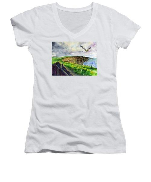 Seagulls At The Cliffs Of Moher Women's V-Neck T-Shirt (Junior Cut) by John D Benson