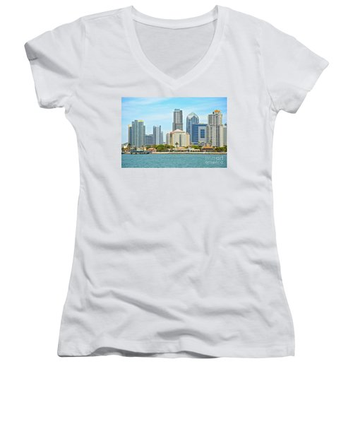 Seaport Village And Downtown San Diego Buildings Women's V-Neck T-Shirt