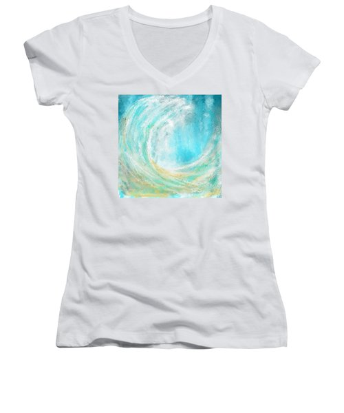 Seascapes Abstract Art - Mesmerized Women's V-Neck T-Shirt