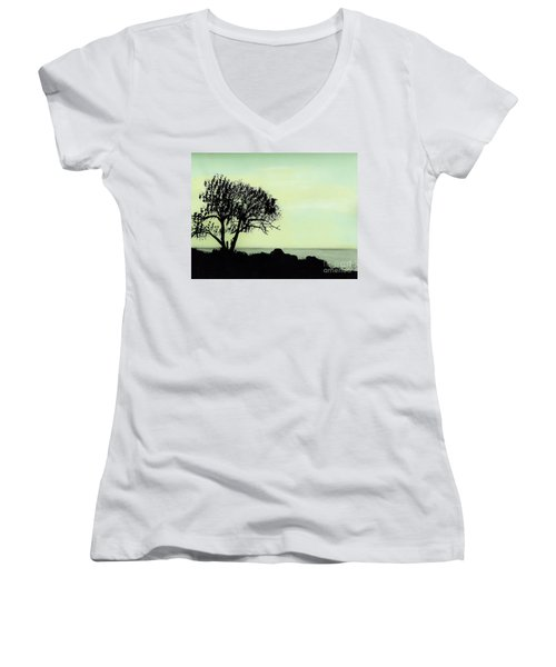 Women's V-Neck T-Shirt (Junior Cut) featuring the drawing Seashore Silhouette by D Hackett