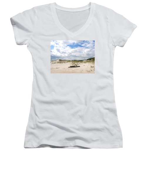 Women's V-Neck T-Shirt (Junior Cut) featuring the photograph Seaside Driftwood And Dunes by Pamela Hyde Wilson