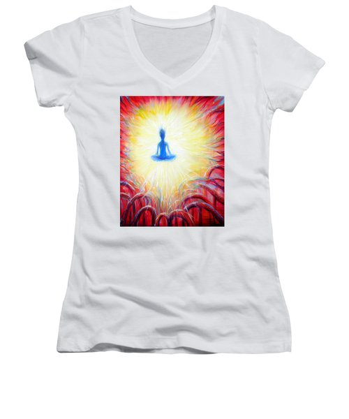 Women's V-Neck T-Shirt (Junior Cut) featuring the painting Seat Of The Soul by Heather Calderon