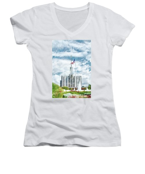 Women's V-Neck T-Shirt (Junior Cut) featuring the painting Seattle Temple 1 by Greg Collins