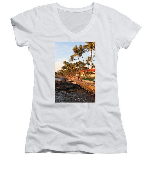 Seawall At Sunset Women's V-Neck T-Shirt
