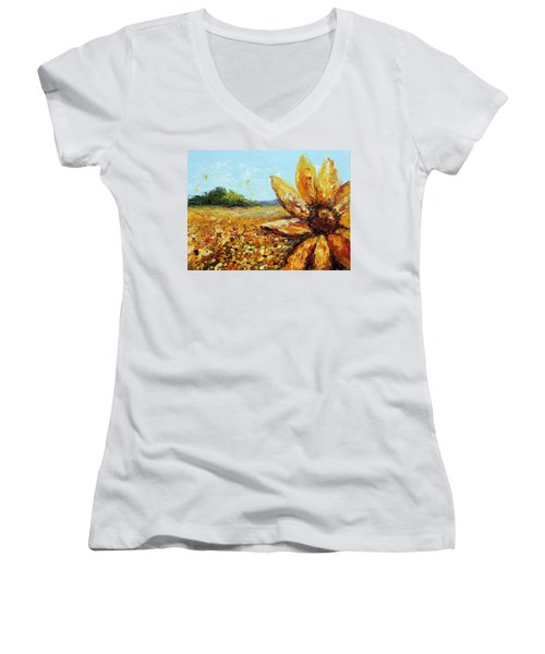 Seeing The Sun Women's V-Neck (Athletic Fit)