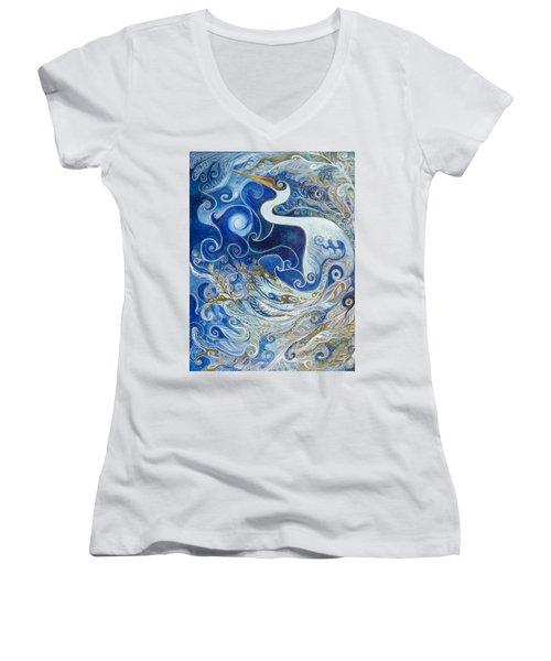 Seeking Balance Women's V-Neck T-Shirt (Junior Cut) by Leela Payne
