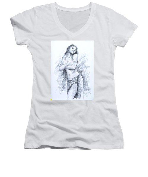 Semi Nude Women's V-Neck T-Shirt (Junior Cut) by Ragunath Venkatraman