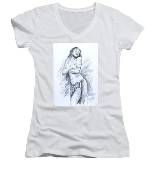 Semi Nude Women's V-Neck T-Shirt