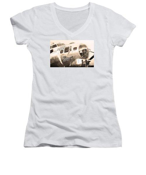 Sentimental Journey Women's V-Neck T-Shirt (Junior Cut) by Steven Reed