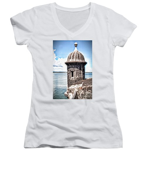 Sentry Box In El Morro Hdr Women's V-Neck T-Shirt (Junior Cut)