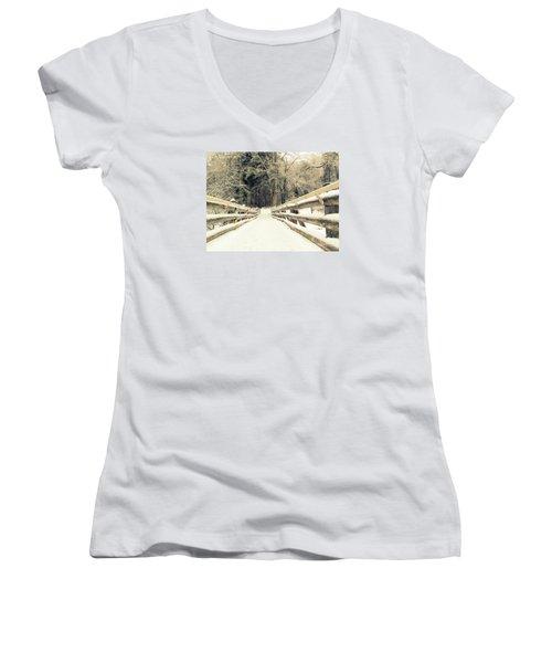Women's V-Neck T-Shirt (Junior Cut) featuring the photograph Sepia Winter Land by France Laliberte