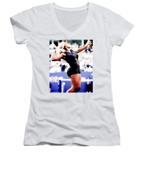 Serena Williams Catsuit Women's V-Neck T-Shirt (Junior Cut) by Brian Reaves