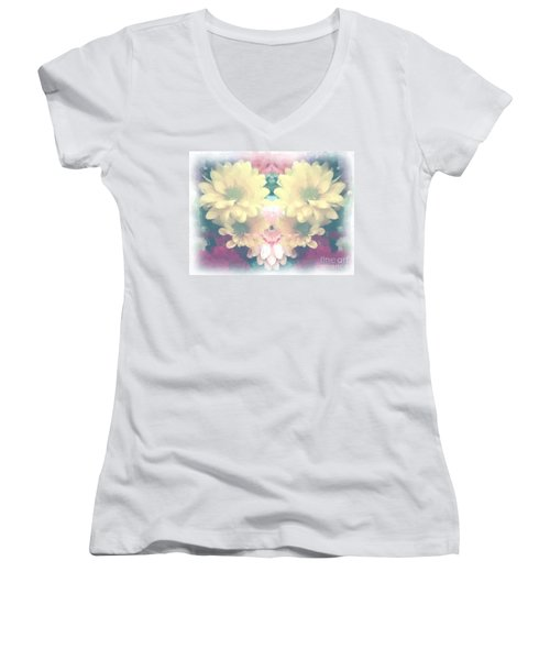 Women's V-Neck T-Shirt (Junior Cut) featuring the photograph Serene Zinnias by Luther Fine Art