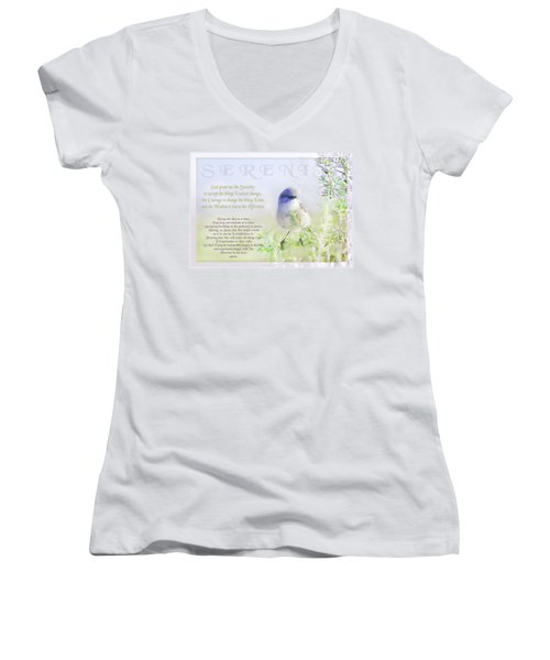 Serenity Prayer Women's V-Neck T-Shirt (Junior Cut) by Holly Kempe