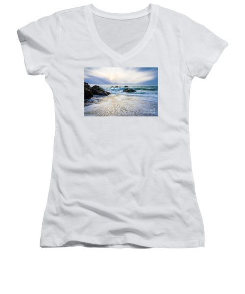 Setting Sun And Rising Tide Women's V-Neck T-Shirt