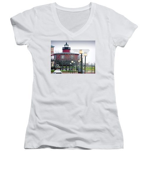Women's V-Neck T-Shirt (Junior Cut) featuring the photograph Seven Foot Knoll Lighthouse by Brian Wallace