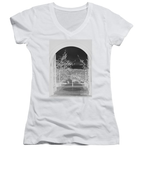Women's V-Neck T-Shirt (Junior Cut) featuring the photograph Shades Of Grey by Carol Lynn Coronios
