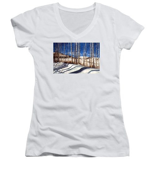 Women's V-Neck T-Shirt (Junior Cut) featuring the painting Shadow Dance by Barbara Jewell