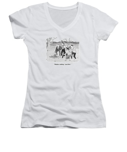 Shadow, Nothing.  I Saw Elvis Women's V-Neck T-Shirt (Junior Cut) by Danny Shanahan