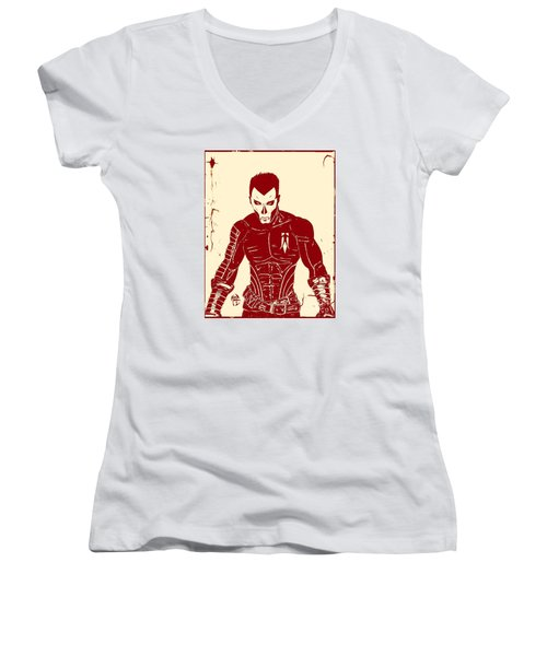 Women's V-Neck T-Shirt (Junior Cut) featuring the drawing Shadowman Poster by Justin Moore