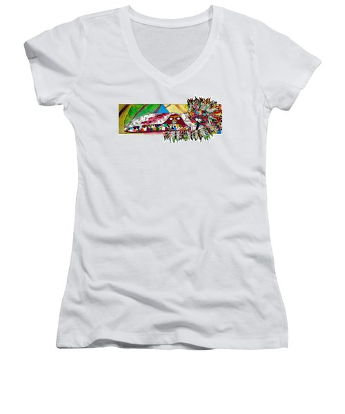Women's V-Neck T-Shirt (Junior Cut) featuring the tapestry - textile Shango Firebird by Apanaki Temitayo M