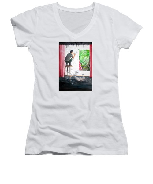 Shaping The Peace Listen With Music Of The Description Box Women's V-Neck T-Shirt (Junior Cut) by Lazaro Hurtado