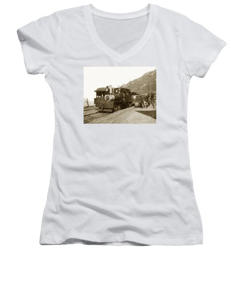 Women's V-Neck T-Shirt (Junior Cut) featuring the photograph Shay No. 498 At The Summit Of Mt. Tamalpais Marin Co California Circa 1902 by California Views Mr Pat Hathaway Archives