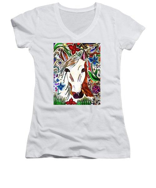 She Grazes Where Flowers Grow - Horse Women's V-Neck T-Shirt