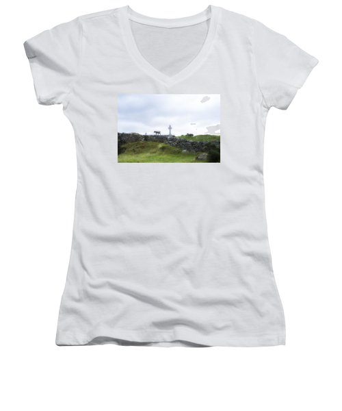 Sheep And Cross Women's V-Neck T-Shirt