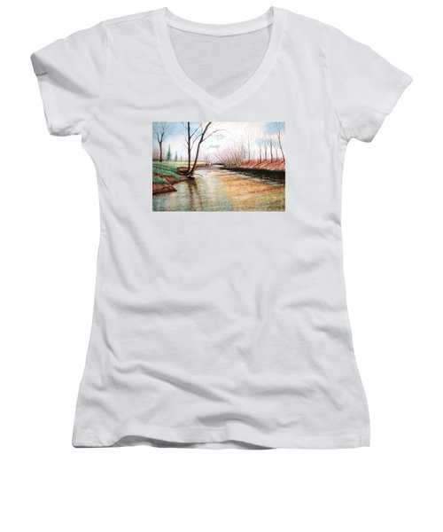 Women's V-Neck T-Shirt (Junior Cut) featuring the pastel Shelby Stream by Stacy C Bottoms