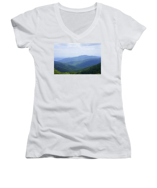 Women's V-Neck T-Shirt (Junior Cut) featuring the photograph Shenandoah View by Laurie Perry