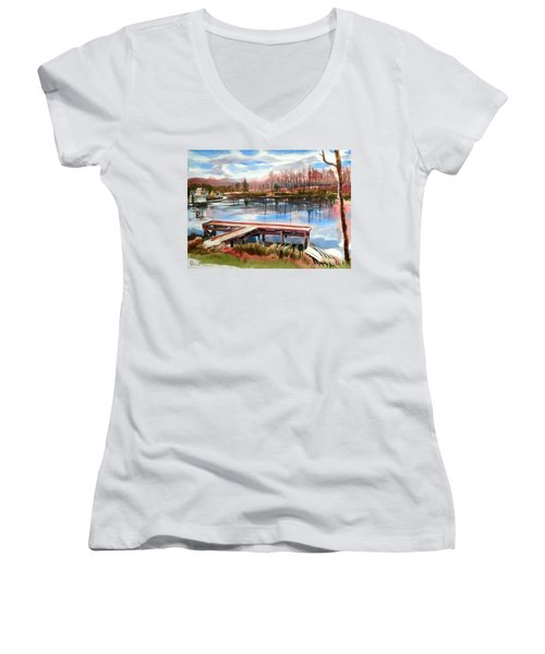 Shepherd Mountain Lake In Winter Women's V-Neck