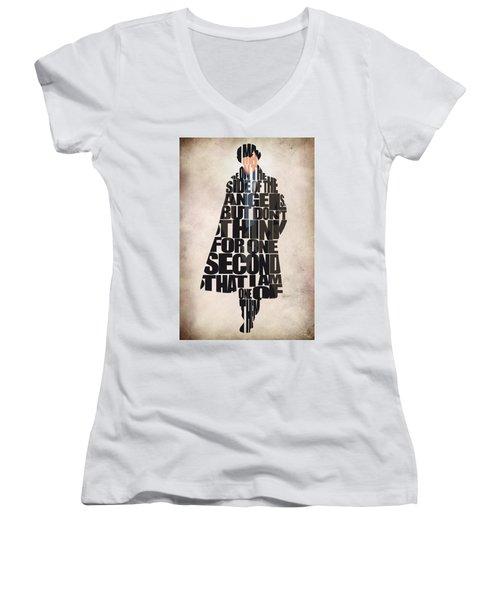 Sherlock - Benedict Cumberbatch Women's V-Neck T-Shirt (Junior Cut) by Ayse Deniz