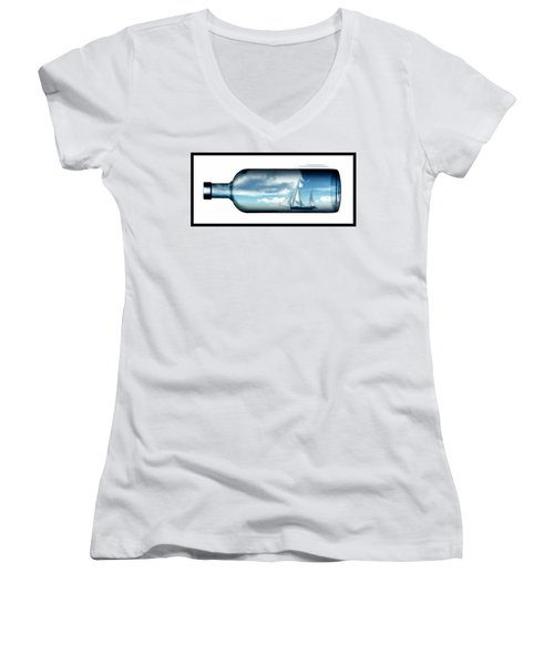 Women's V-Neck T-Shirt (Junior Cut) featuring the digital art Ship In Bottle... by Tim Fillingim