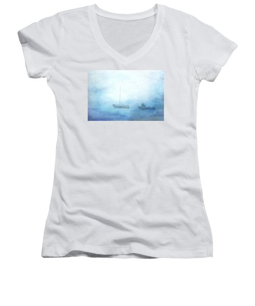 Ships In The Morning Haze  Women's V-Neck (Athletic Fit)